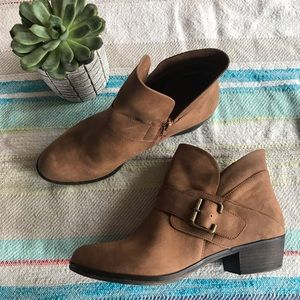 One west brown suede ankle booties size 8.5